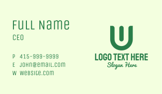 Green Organic Letter U Business Card