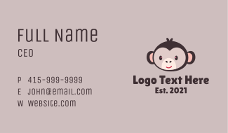 Brown Smiling Monkey Business Card