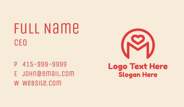 m - Monoline Heart Letter M Business card horizontal design