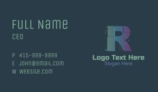 Modern Glitch Letter R Business Card
