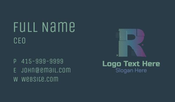 glitchy - Modern Glitch Letter R Business card horizontal design