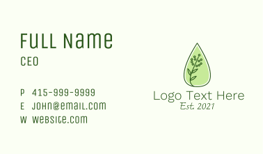 Organic Essential Oil Business Card