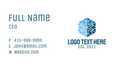 Blue Hexagon Snowflake  Business Card
