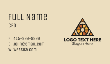 Brown Stained Glass Tribal Triangle Business Card