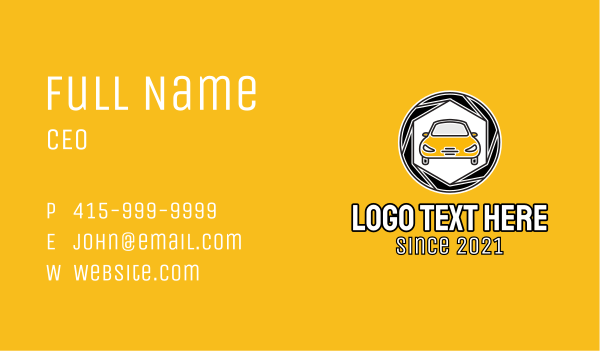 auto repair - Camera Shutter Car Business card horizontal design