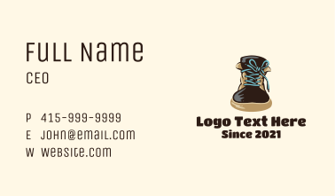 Shoelace Knot Boots Business Card
