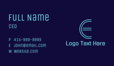 Cyber Letter E Business Card