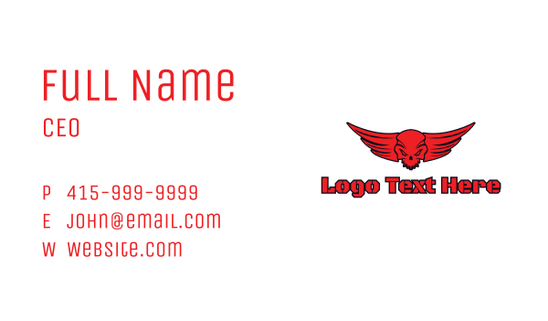 skeletal - Red Devil Skull Business card horizontal design