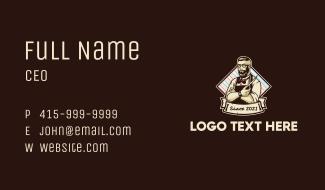 Retro Barbershop Emblem Business Card