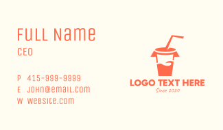 Orange Drinking Cup Business Card
