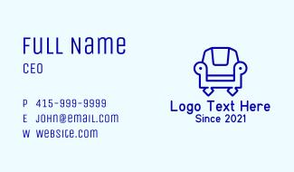 Blue Armchair Outline Business Card