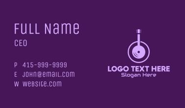 Purple Guitar Headphones Business Card