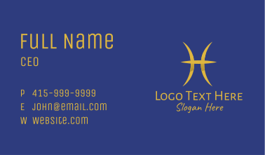 Gold Pisces Symbol Business Card