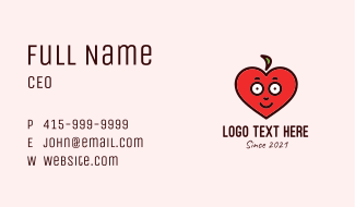 Red Heart Mascot  Business Card