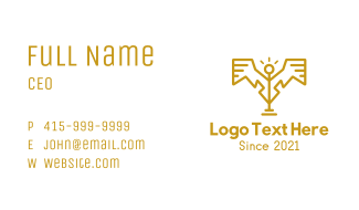 Golden Statue Wings Business Card
