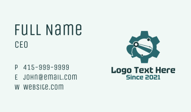 Green Crane Cogwheel Construction Business Card