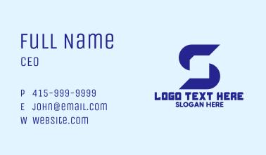 Blue Document Letter S Business Card