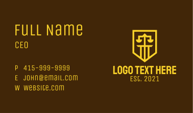 Golden Law Shield  Business Card