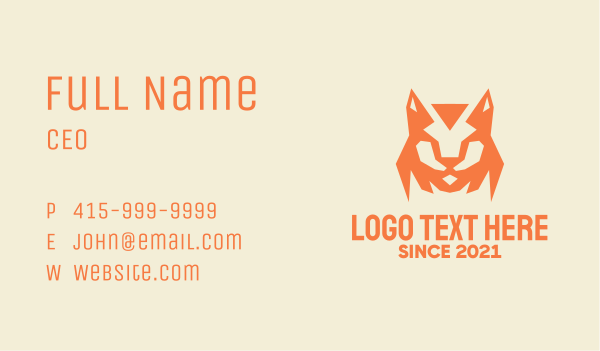dhole - Orange Bobcat Mascot Business card horizontal design