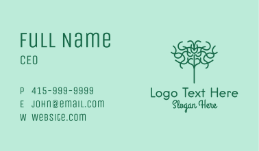Green Abstract Tree  Business Card
