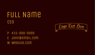 Ancient Scroll Wordmark  Business Card