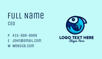Blue Fish  Circle Business Card
