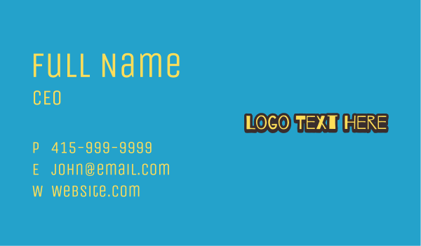 pop art - Doodle Style Wordmark Business card horizontal design
