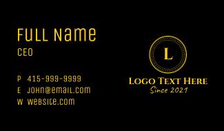 Golden Coin Letter  Business Card