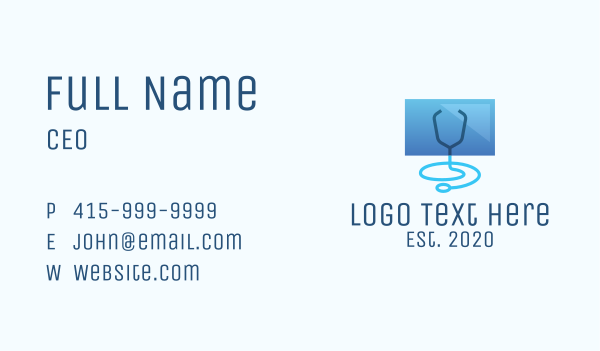 physical examination - Blue Medical Monitor Business card horizontal design