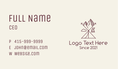 Black Monoline Camping Emblem Business Card