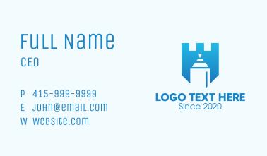 Blue Spray Paint Shield Business Card
