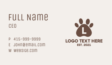 Brown Paw Letter Business Card