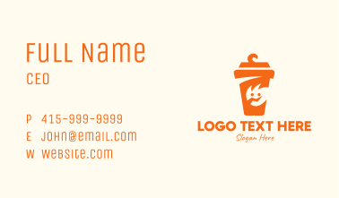 Orange Drinking Cup Mascot Business Card