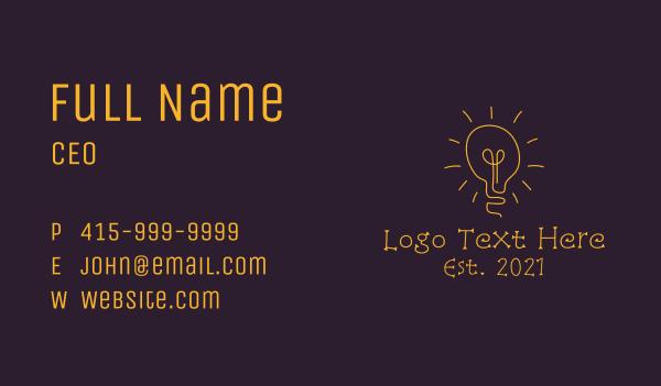 electronic - Minimalist Yellow Light Bulb   Business card horizontal design