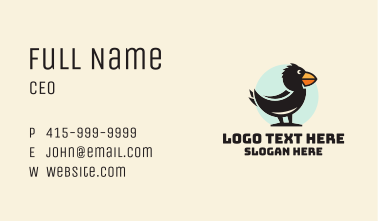 Cute Crow Character Business Card