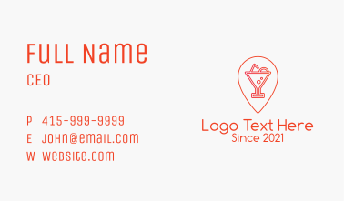 Red Pin Bar  Business Card