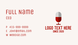 Red Wine Microphone Podcast Business Card