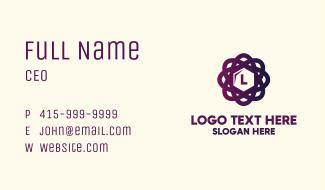 Violet Atomic Cube Letter Business Card