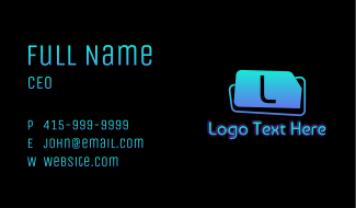 Gradient Gaming Futuristic Letter Business Card