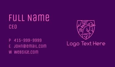 Pink Unicorn Shield Business Card