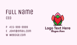 Heart Flower Bud Business Card