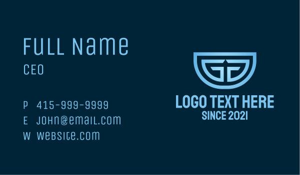 media company - Double G Monogram Business card horizontal design