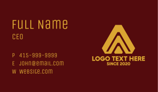 Elegant Company Letter A Business Card