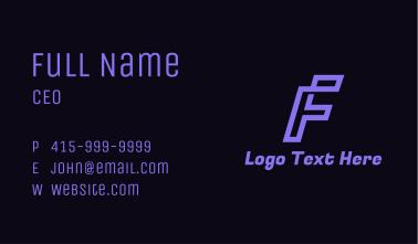 Purple Letter F Business Card