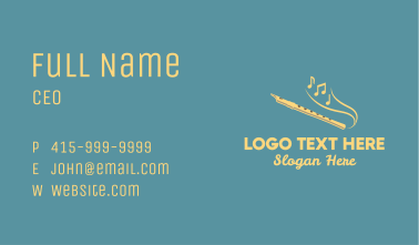 Yellow Musical Flute  Business Card