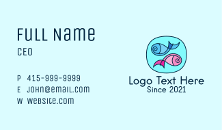 Abstract Swimming Fish Business Card