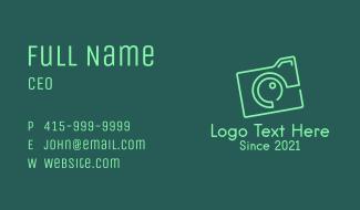 Minimalist Green Camera Business Card