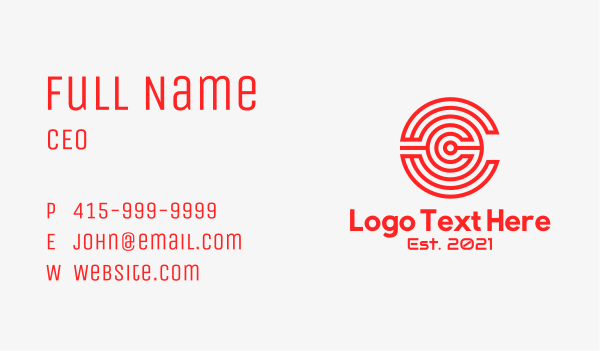 labyrinth - Red Circle Letter C Business card horizontal design