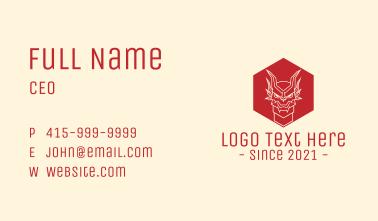 Dragon Hexagon Line Art Business Card