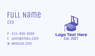 Online Course Laptop Business Card